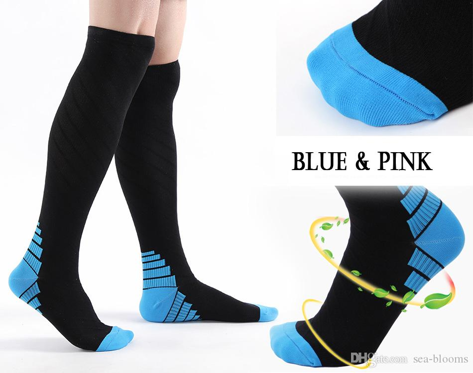1425b53fa 2019 Pink Blue Sports Compression Socks Knee High Socks For Men Women  Warmer Stockings Long Sock Tube Long Stockings Casual Socks Free DHL G503S  From Sea ...