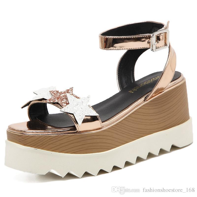 c91f9d5b Compre Mujeres Estrellas Imprimir Sandalias 2018 Moda Boca De Pescado  Plataforma Zapatos De Verano Tacones Altos Sandalias De Cuña Zapatos De  Cinco ...