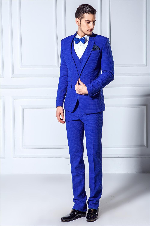 Slim Fit Kraliyet Mavi Damat Smokin Notch Yaka Tek Düğme Erkekler Düğün Blazer Erkekler Örgün Balo Yemeği Iş Takım Elbise Ceket + Pantolon + Kravat + Yelek 1026