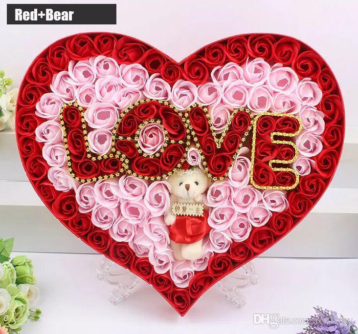 2019 Creative Send His Girlfriend Soap Flower Gift Box Plus Bear Love Lamp ValentineS Day Birthday Teacher S Wedding From Rexbaby