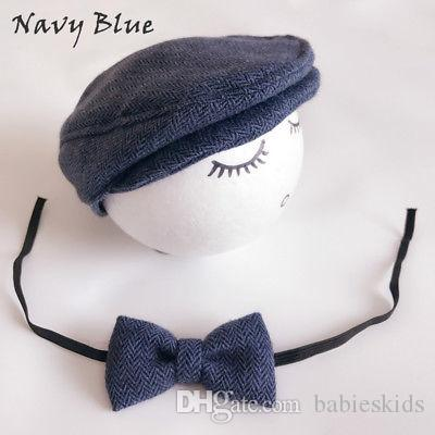 Baby Hats Newborn Peaked Beanie Cap Hat + Bow Tie Photo Photography Prop Outfit Set Toddler Kids Boys Girls Caps