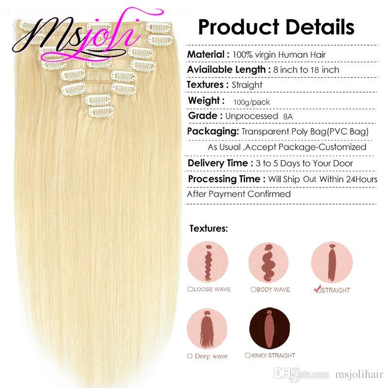 613 # Biondo Peruviano Straight Clip In Hair Extension Unprocessede Capelli Umani Capelli Peruviani Chiaro Dritto 100g 8 Pz Set