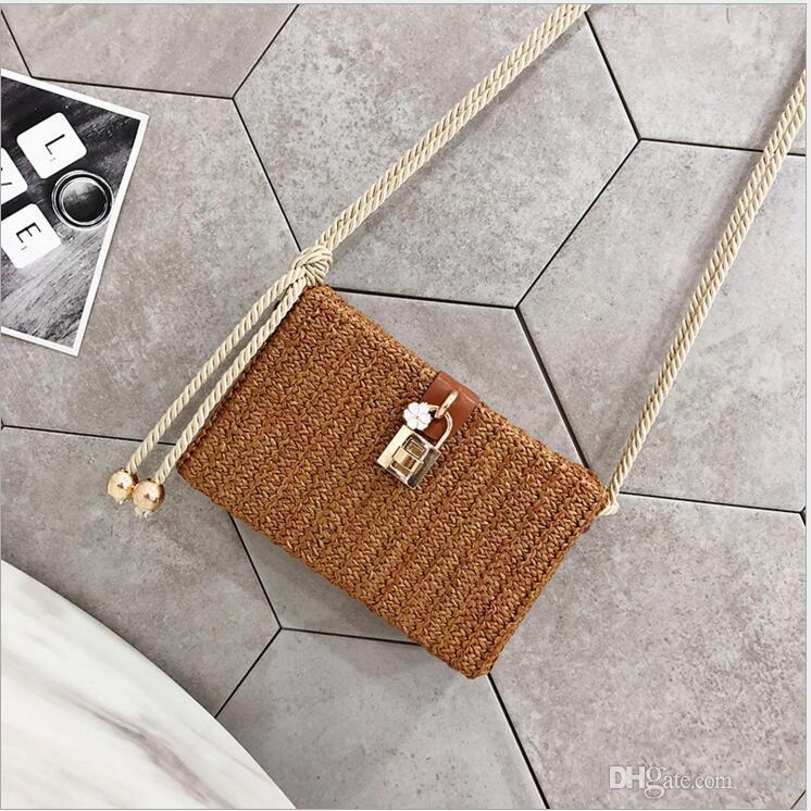 Satchel hembra 2018 nuevo estilo de paja que teje el pequeño bolso cuadrado bolso oblicuo caja femenina satchel hembra japonés y estudiantes coreanos de la cerradura de la playa