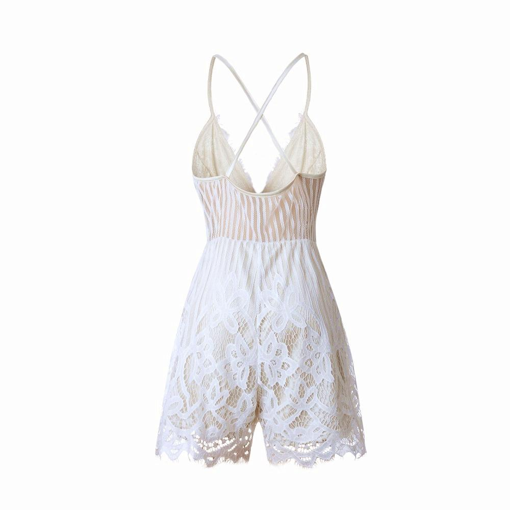 XS-2XL 2018 Summer Lace Camisole V Neck Playsuit Sexy Shorts Rompers Women Bodysuit Beach White Overall Mini Jumpsuits