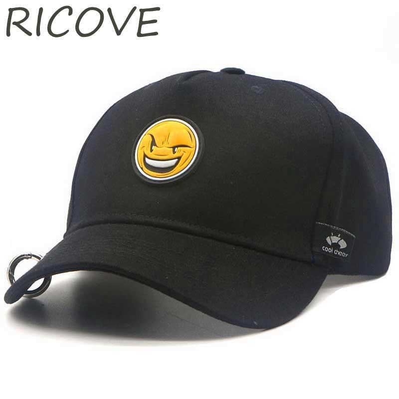 676cec3fef1ea Men Women Snapback Adjustable Baseball Cap With Rings Smile Patch Kids Hip  Hop Caps Girls Boys Cotton Hat Fashion Baseball Hats Cap Hat Flat Caps For  Men ...