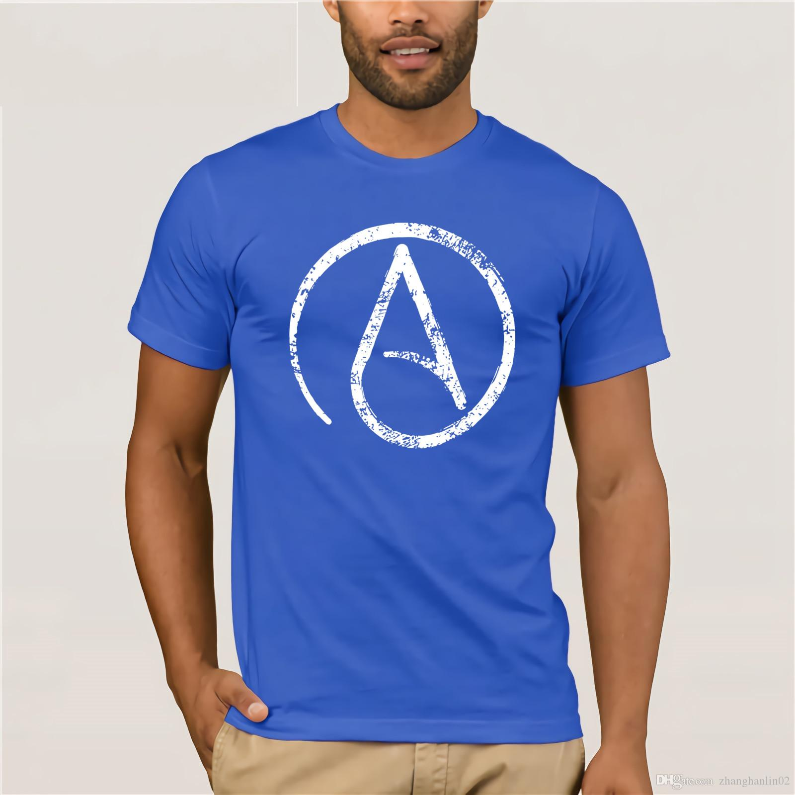 Distressed Atheism Atheist Symbol T Shirt Funny Rude T Shirts
