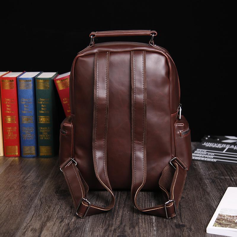 Vintage Crazy Horse Leather Backpack Multi Pockets Travel Bag Men Pu