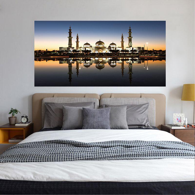 DIY Creative Bedside Sticker The Grand Mosque Wallpaper Muslim Arabic  Islamic Building Headboard Decal Removable Poster Art Home Decorative