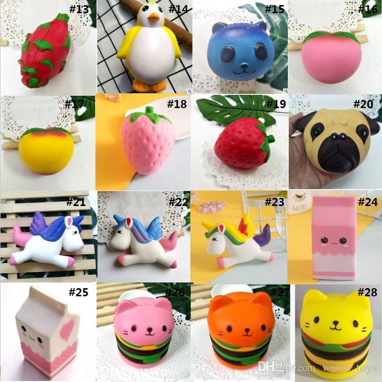 38 Styles Squishy Penguin Owl Strawberry Rainbow Chocolate Peanut Cup Cat Peach Jumbo Slow Rising Bread Cake Kawaii Phone Pendant Key Chain