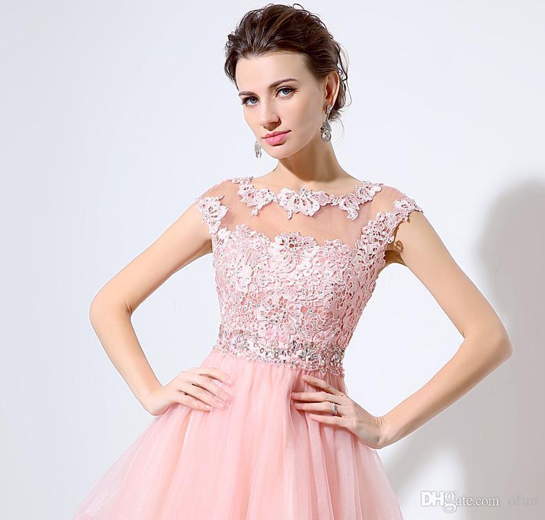 c844bccbb48ca Satın Al Sıcak Satış Pembe Kısa Mezuniyet Elbiseleri Dantel Aplikler  Boncuklu Bel Kolsuz Illusion Geri Katlı Tül Formu Durum Abiye, $95.48 |  DHgate.Com'da