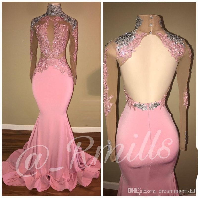 Pink Open Back Mermaid Prom Dresses 2018 New Long Sleeve Lace ...