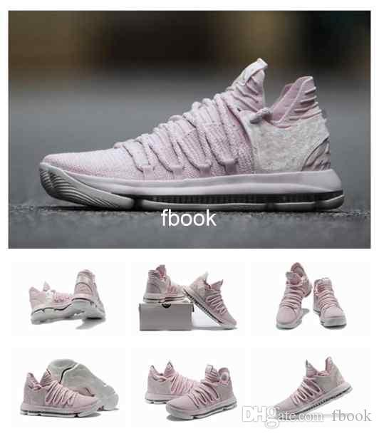 35d9abaecec0 2018 New KD 10 Aunt Pearl Mens Basketball Shoes Sneakers High Quality Pearl  Pink White Sail Athletic Sport Sneakers AQ4110 600 Eur 40 46 Kids Sneakers  Shoes ...