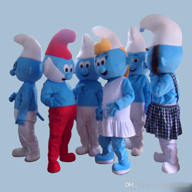 2018 Factory Direct Sale Lovely Blue Smurfs Papa Smurf Mascot Costume  Halloween Party Fancy Dress Cartoon Costume Factory Cheap Mascots For Sale  Adult ... 1930012ed9