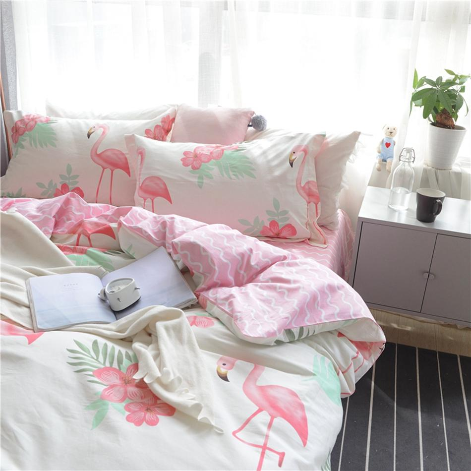 Wonderful Sweet Pink Stripes Bed Sheets 100% Cotton Flamingo Bedding Sets For Adults  Queen King Size Fresh Plants Bedding Sets For Adults Duvet King Size Plaid  Duvet ...