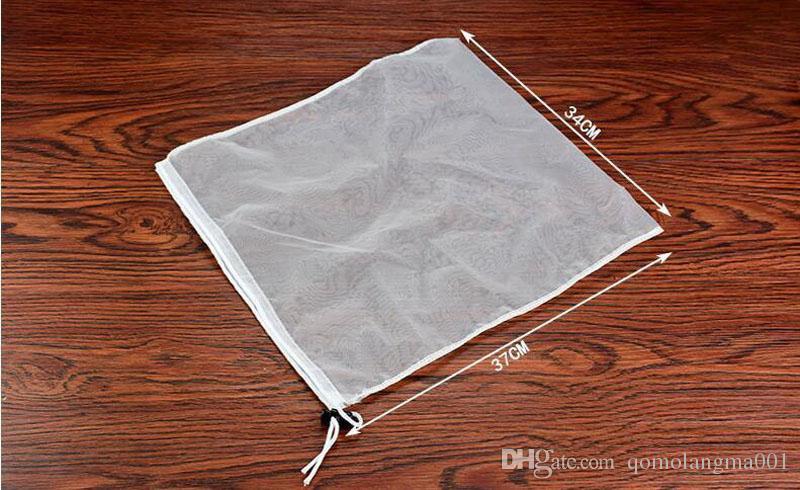 34*37cm Large Reusable Food Filter Mesh Bag Milk Coffee Seasoning Strainer Soup Tea Drawstring Bags