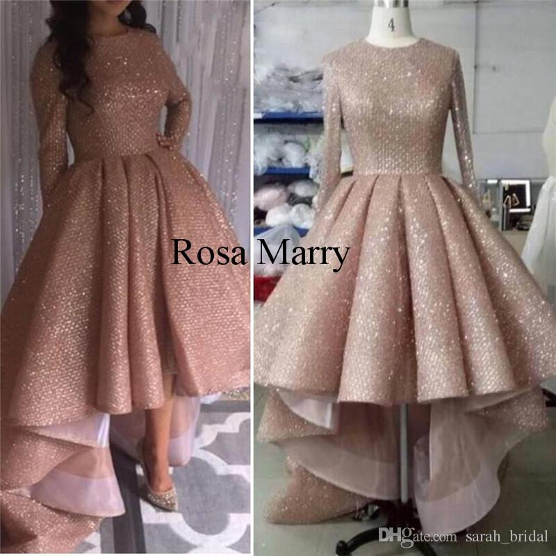 Rose Gold Sequined Arabic Dubai Prom Dresses 2018 Plus Size Long Sleeves  High Low Cheap African Girls Formal Pageant Evening Party Gowns Prom Long  Dresses ... 170d28656ac3