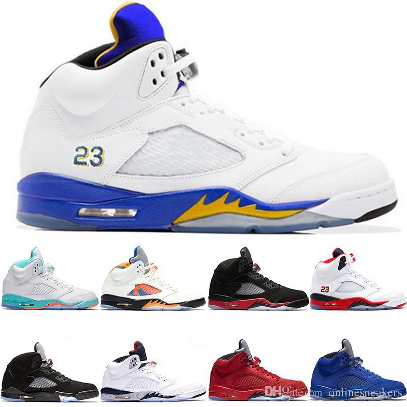 buy popular 90498 26043 Zapatos De Baloncesto 5 5s Hombres Mujeres Bred Light Aqua Laney Rojo Azul  Gamuza Blanco Cemento OG Metallic Negro Hombres Deportes Sneaker Tamaño 5 13  Por ...