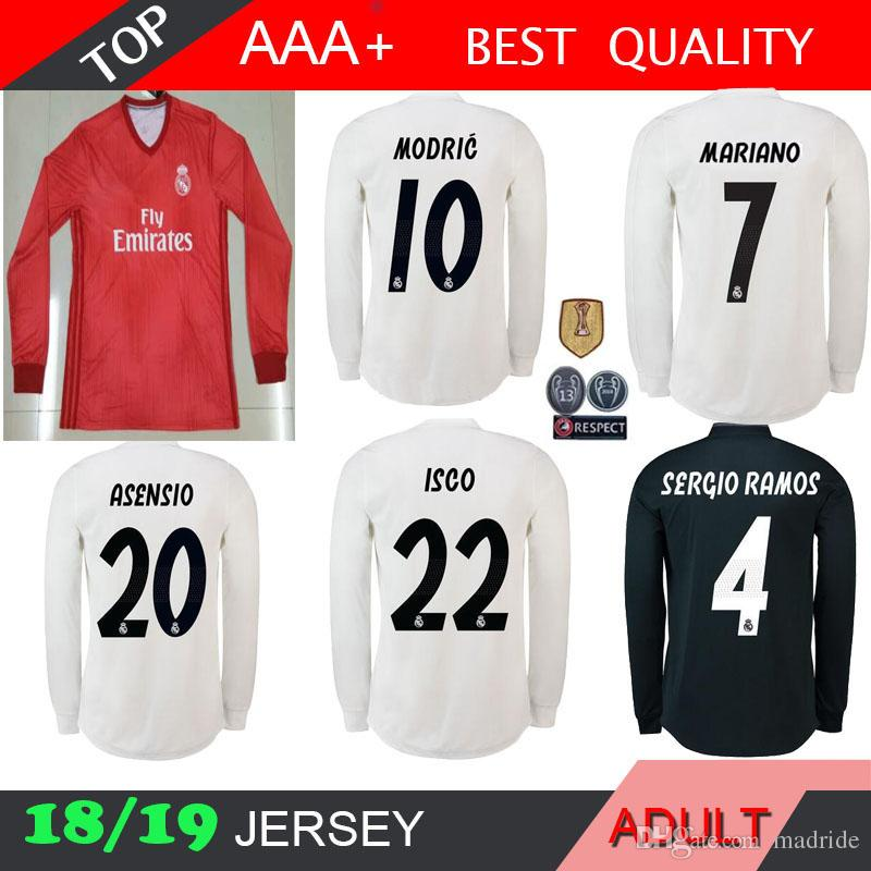 2019 MARIANO 2018 2019 Real Madrid Long Sleeve Soccer Jersey ASENSIO Isco  Modric Kroos Sergio Ramos Bale 18 19 UCL 13 Cups Football Full Shirts From  Madride ... 788f1a840