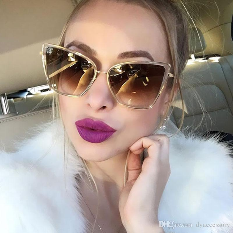 dcd71c02a70 Luxury Cat Eye Sunglasses Women Brand Designer 2018 Vintage Retro Gradient  Mirror Sun Glasses For Lady Female Cateye Shades Sunglasses At Night Lyrics  ...
