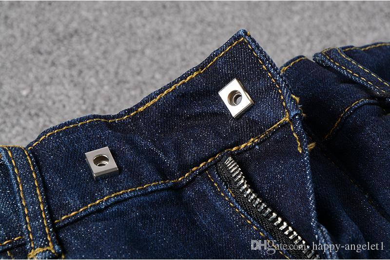 88100 # Hommes Agrémenté Stretch Stretch Moto Pantalon Huilé Peint Biker Jeans Slim Bleu Pantalon Taille 29-42