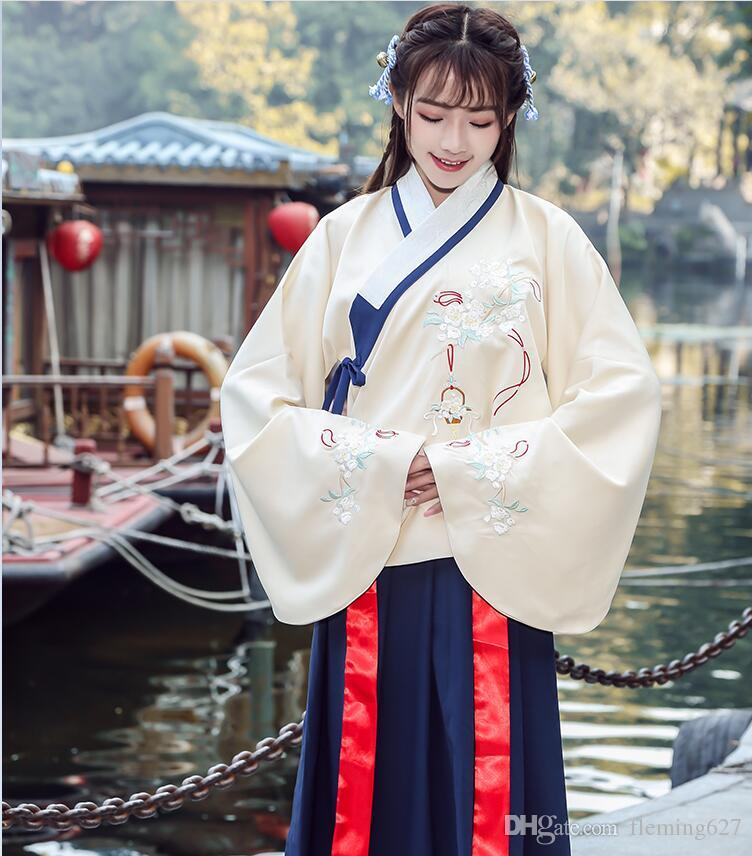 ec5dd5c26 2019 Chinese Traditional Hanfu Heavy Industry Embroidered Double Cross  Collar Top Jacket +Skirt Cantonese Embroidered Ancient Dress Suits From  Fleming627, ...