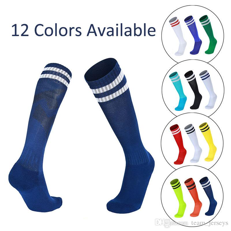 d56c3b0a08e 2019 Adult Kids Children Soccer Socks Football Sock Polyester Cotton Anti  Skid Absorbent Socks Knee High Training Long Stockings Outdoor Sport From  ...