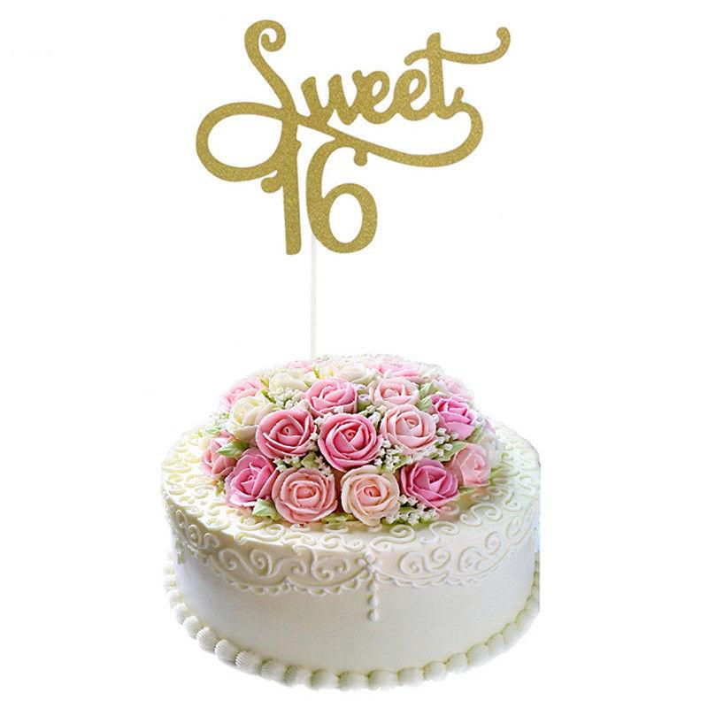 2018 Gold Monogram Sweet 16 Cake Topper 16th Birthday Anniversary