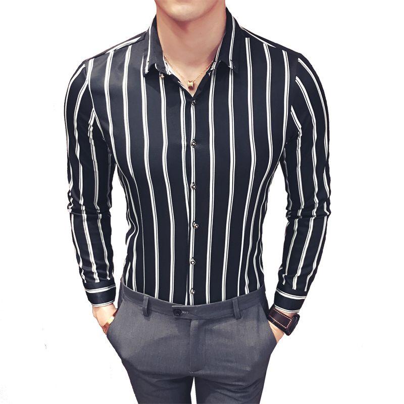 10200a0ee4 Compre Camisa A Rayas De Corea De Los Hombres Slim Fit Vintage Camisa De Rayas  Verticales De Los Hombres De Manga Larga Camisa Social Masculina Chemise ...