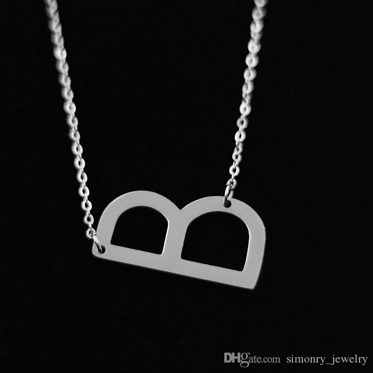 wholesale letter b pendant necklaces stainless steel alphabet capital intitial rose gold choker character popular women fashion jewelry wholesale heart