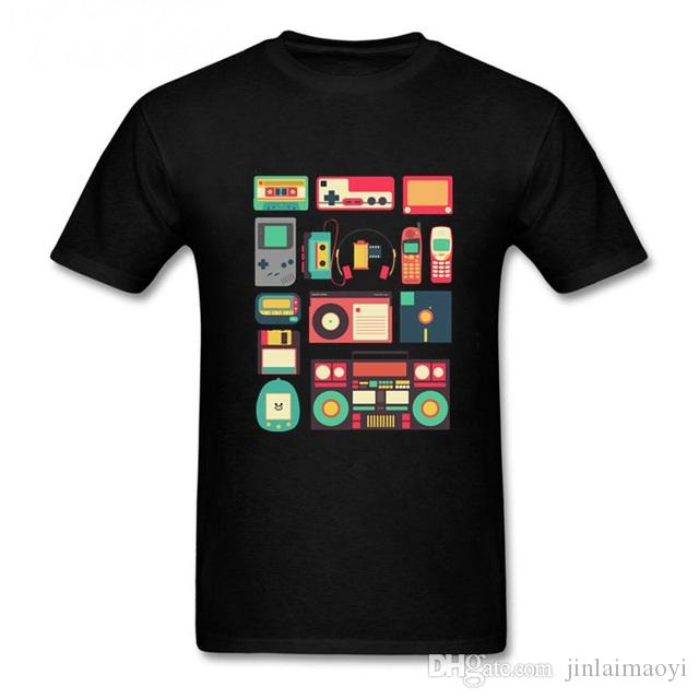 popular brand look good shoes sale factory authentic RETRO TECHNOLOGY Men T Shirt homme Vintage Short Sleeve pullover Cool Music  Cheap tees Luxury Brand Mens Techno t-shirt Camiseta