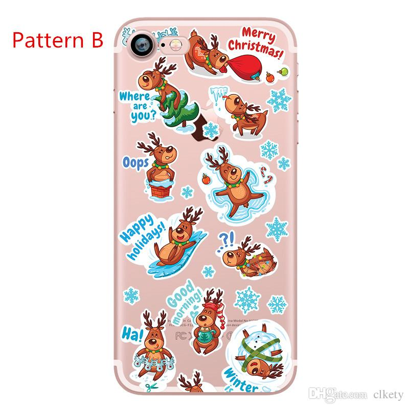 Merry Christmas Tree Santa Claus Gift Happy Phone Cases Back Cover for iPhone X 6plus 7 8Plus Can Mix Model AC041