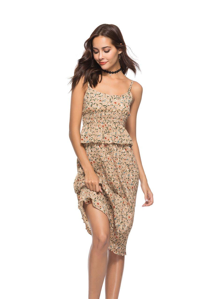 2018 New Fashion Women Sexy Summer Boho Printing Floral Flower Beach Dress For Girl