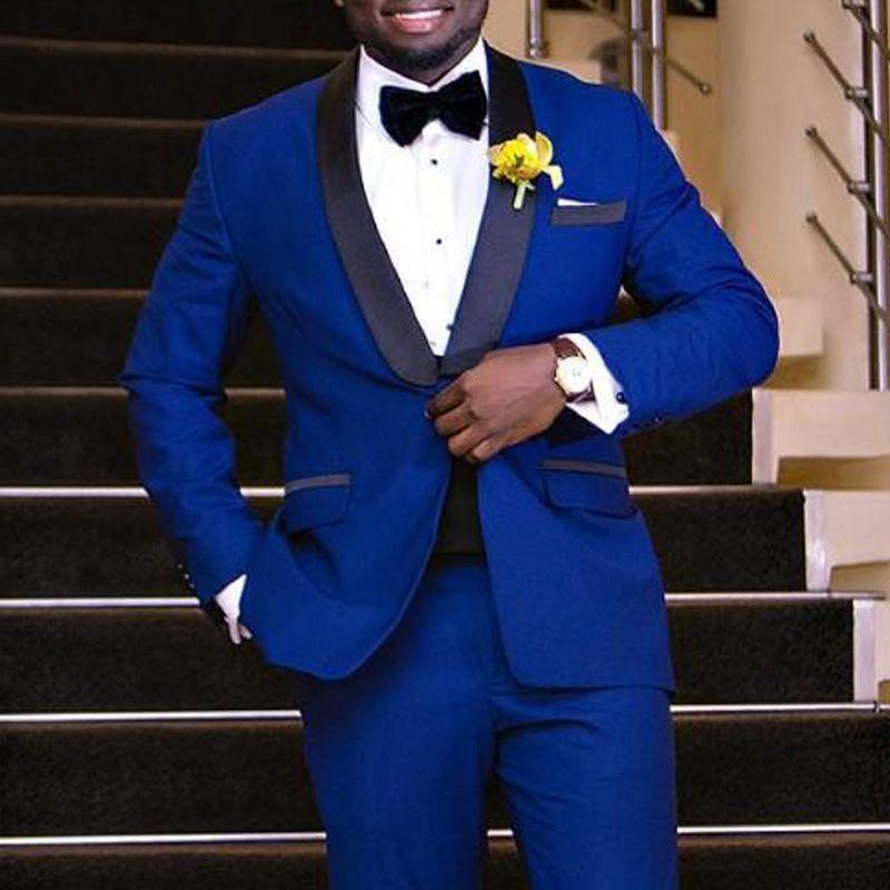 Royal Blue Wedding Groom Tuxedos 2018 Black Shawl Lapel Two Piece ...