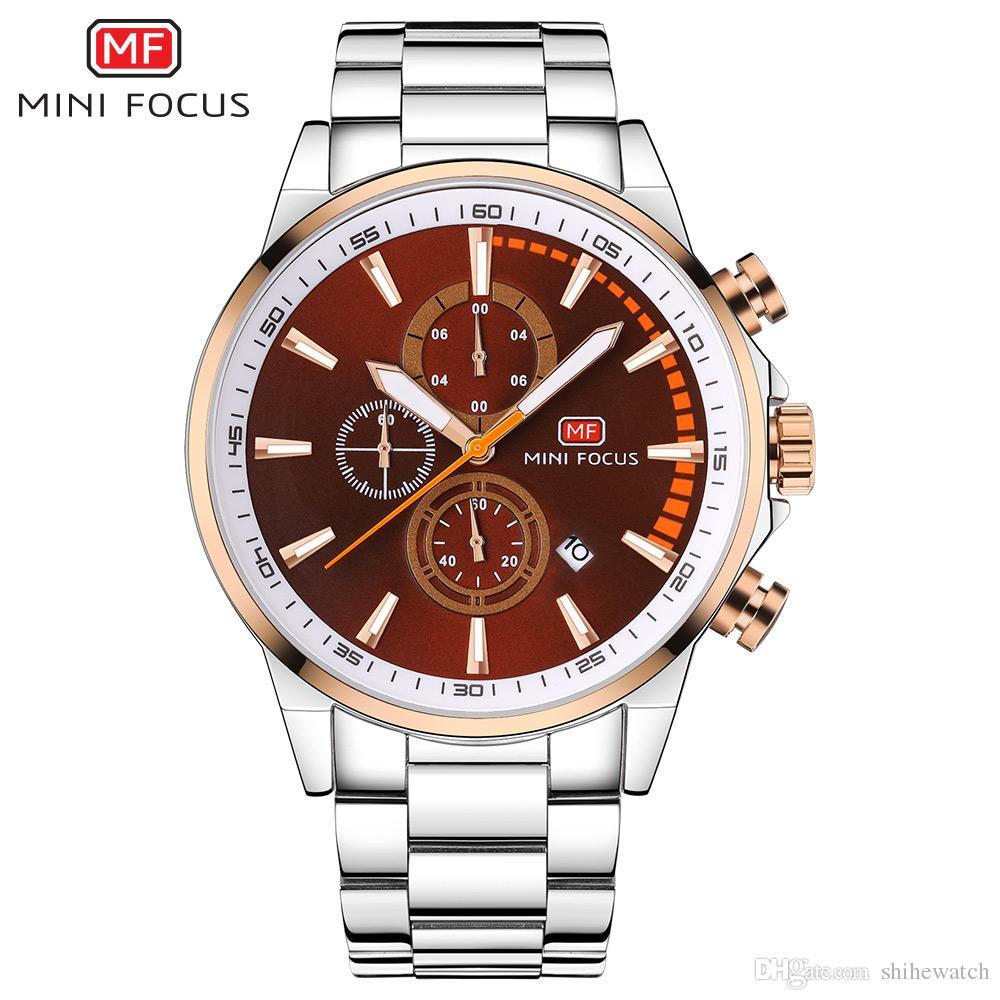 71f01b57027 Compre MINI FOCO MF0085G Nova Moda De Luxo Relógio De Aço Inoxidável Homem  Ocasional De Quartzo Relógio De Pulso Dial Relógios Para O Sexo Masculino  De ...