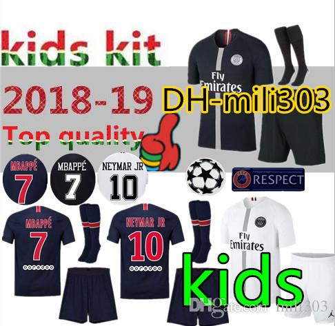 8615aa9021e 2019 18 19 Paris Kids Kit Maillot De MBAPPE Soccer Jerseys 2018 2019 PSG  CAVANI Paris Saint Germain Child Football Shirt Camisetas Uniform From  Mili303