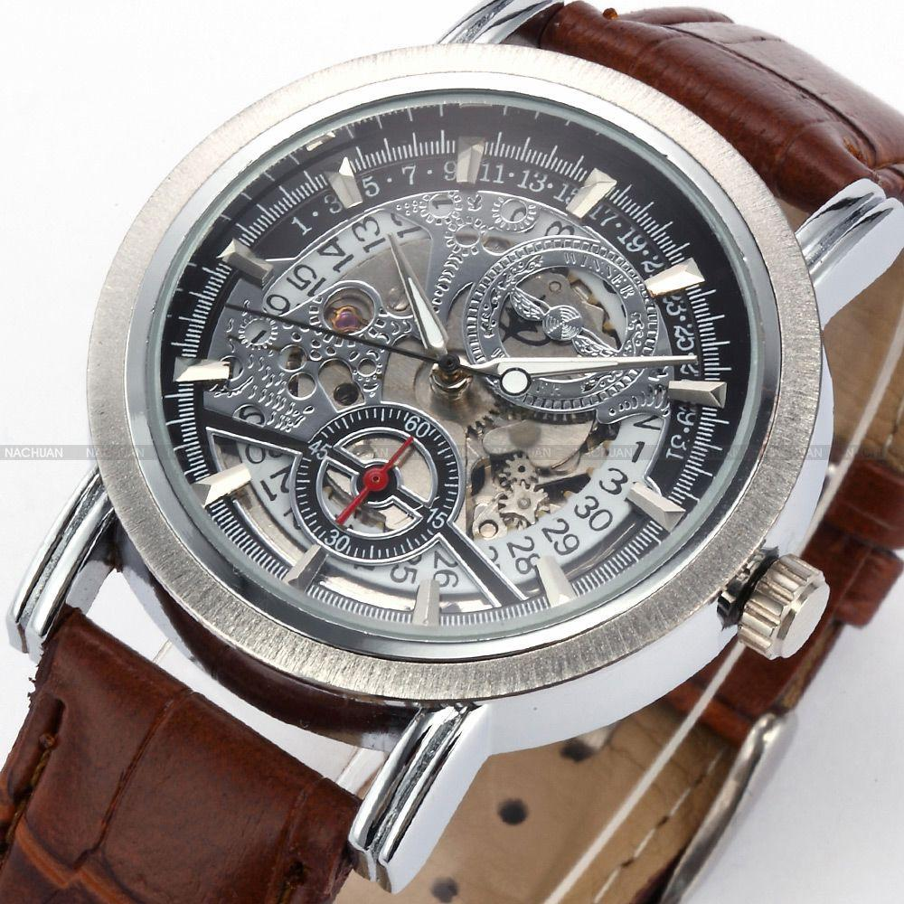 f7814833610 Dress Code WINNER Skeleton Male Relogio Masculino Luxury Automatic Designer  Analog Leather Casual Watch Military Men Mechanical Watch First Wrist Watch  ...