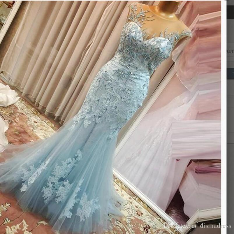 Elegant Blue Mermaid Evening Dresses Beaded Appliqued Lace Evening ...
