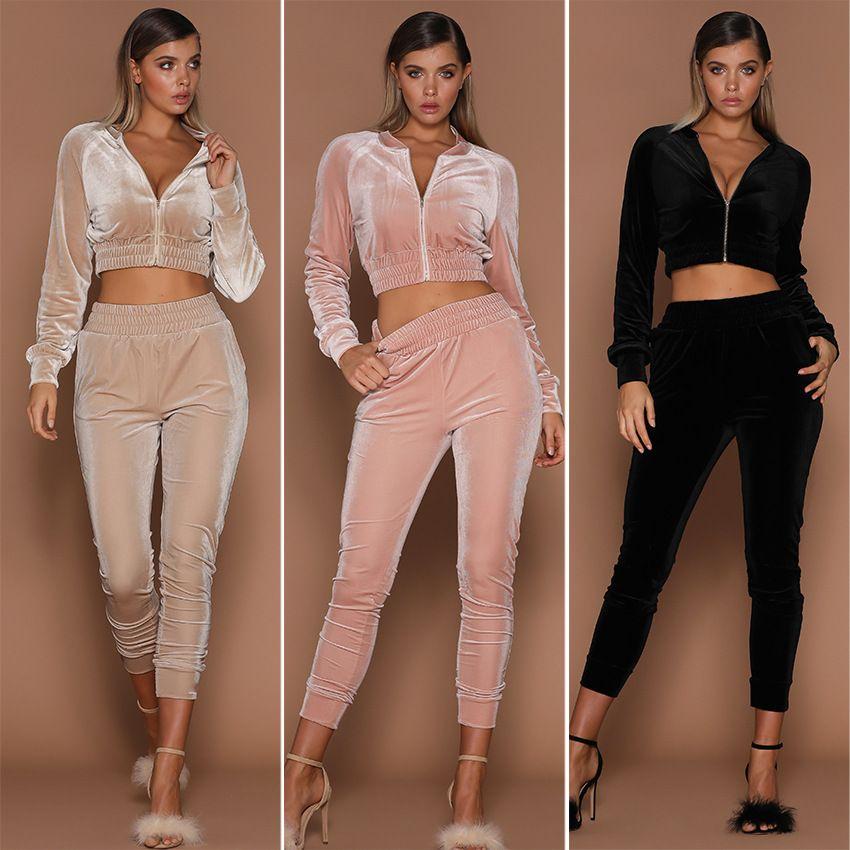 Women Fashion Sports Sets Velvet Jackets Short Crop Top Pants Suits Sweatpants Tracksuits Outfits