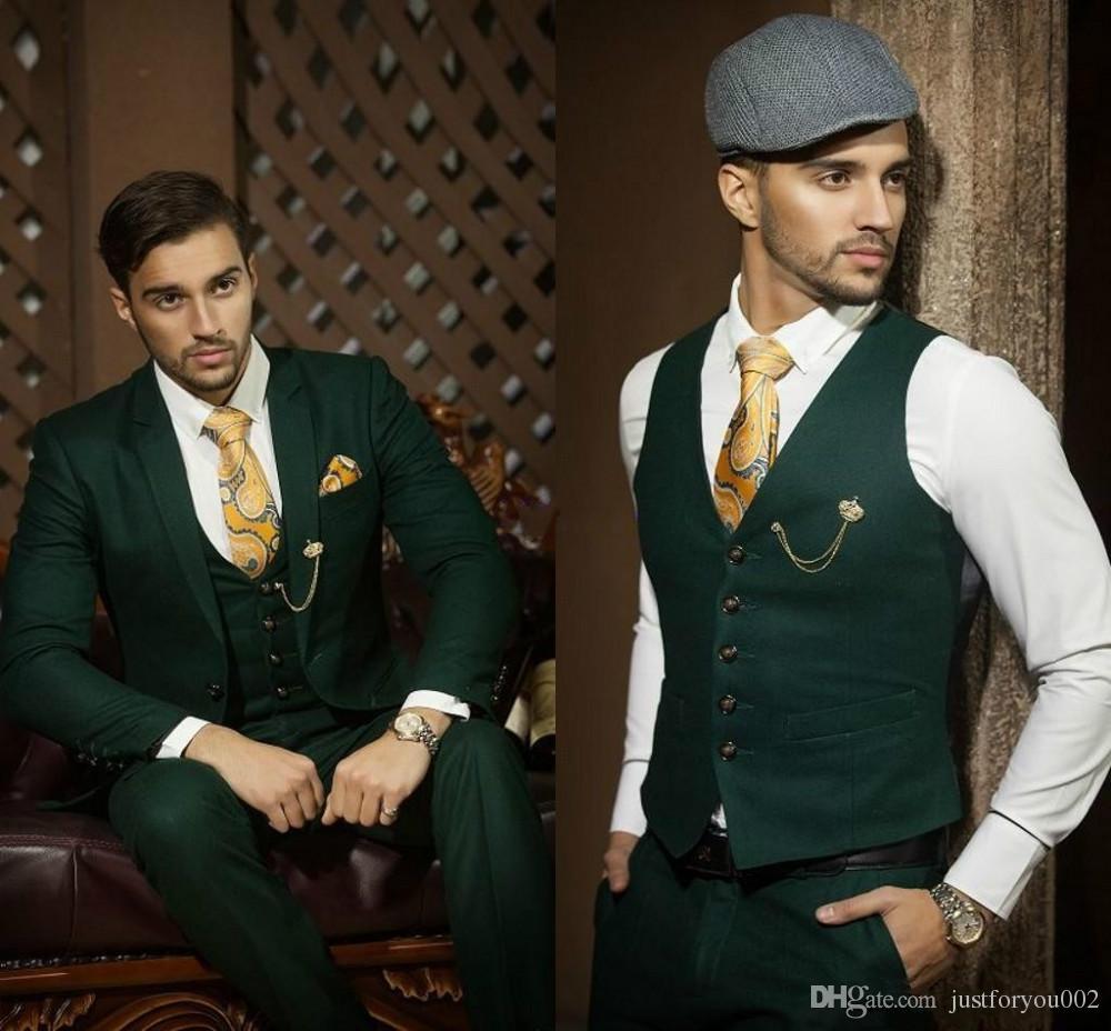 Günstige Drei Stücke Dark Hunter Green Bräutigam Smoking Männer Hochzeit Anzüge Kerbe Revers Männer Blazer Prom Anzug Anzug
