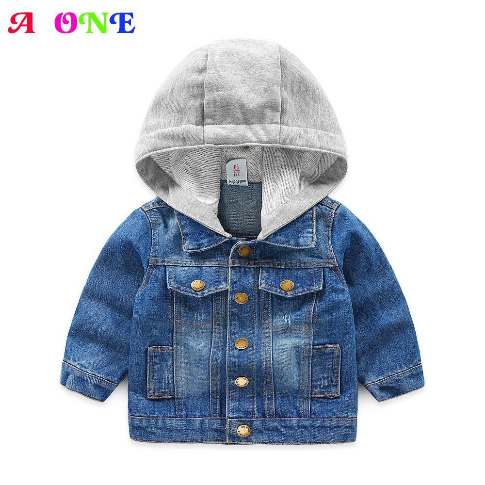 ef1e284d Autumn Spring Blue Patch Fashion Baby Boys Hooded Jacket Kids Denim Coat  Children Designer Outwear 2 To 9 Yrs Baby Boy Jacket Kids Waterproof Jacket  ...