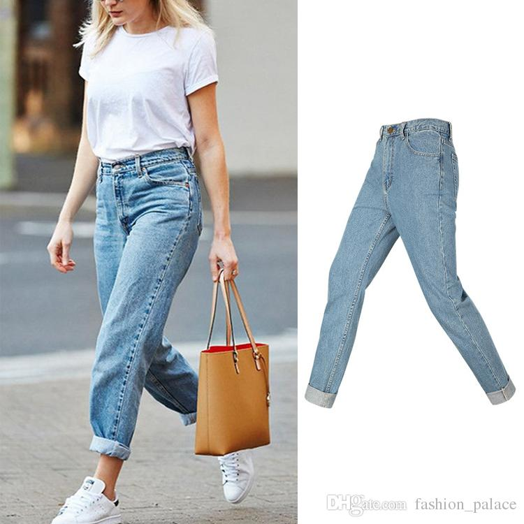 905a29e1649c0 Women s Juniors Straight Jeans Boyfriend Blue Jeans Fashion Casual ...