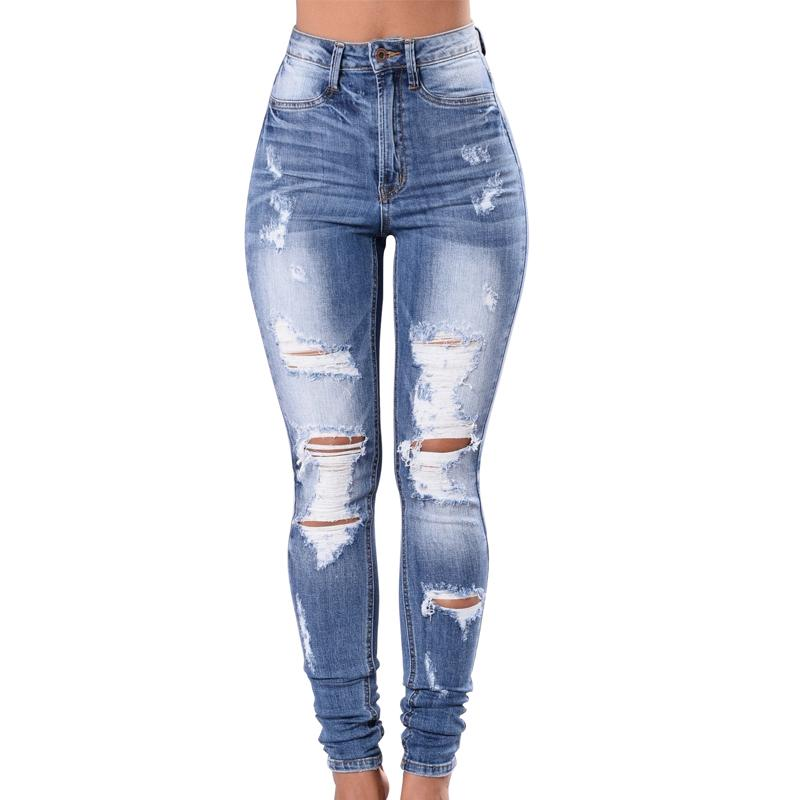 1990c72a12e Women Blue Skinny Jeans 2018 Fashion Ripped Hole High Waist Jeans Slim  Stretch Denim Trousers Ladies Boyfriend UK 2019 From Beautyjewly