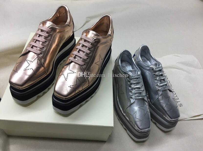 693d0ed9e124 2018 NEW Stella Mccartney Women Calfskin Genuine Leather Platform Casual  Shoes Cut Outs Star Oxfords Stripes Wedge Elyse Lace Up Sneaker Leather  Shoes Dress ...