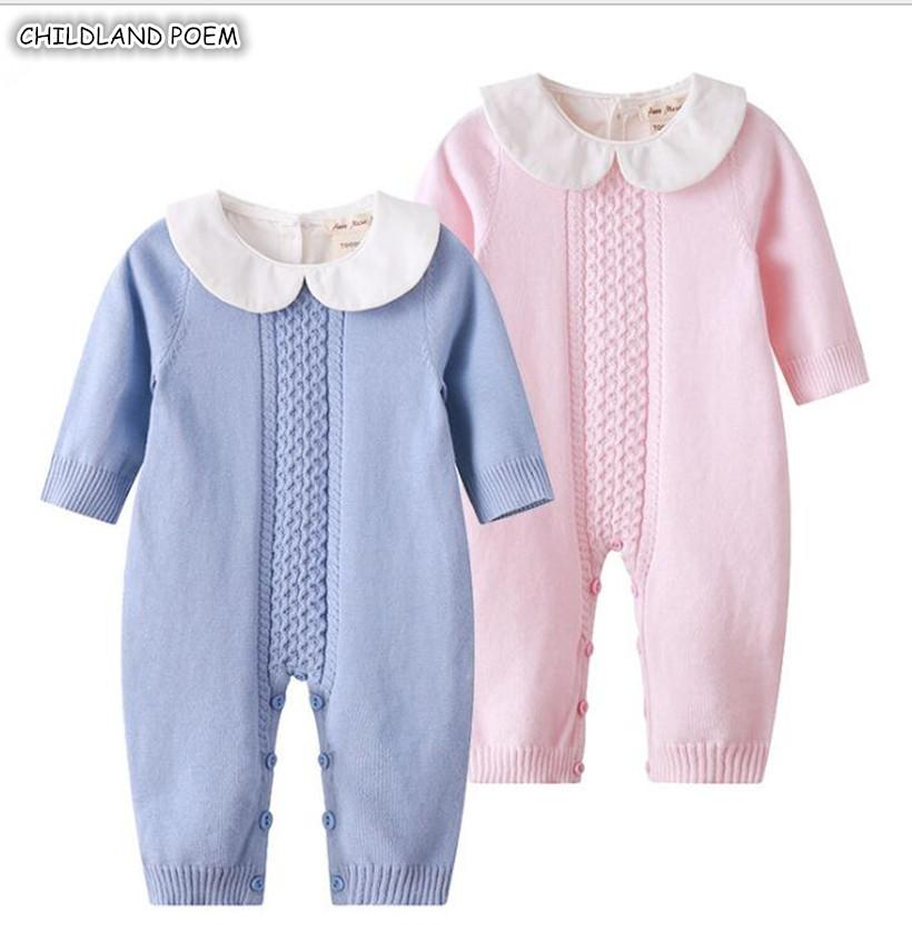 f05305d4322 Knitted Baby Romper Autumn Newborn Knitting Baby Clothes Woolen Long ...