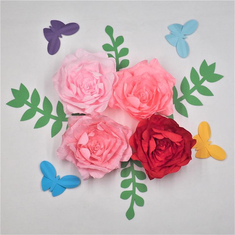 Grosshandel Sortierte Krepppapier Blume Mit Verlasst Schmetterlings