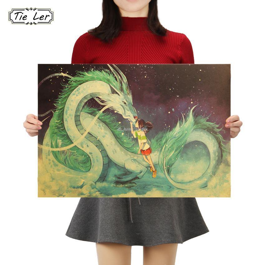 Famous Hayao Miyazaki Anime Movie Spirited Away Kraft Paper Poster Decorative Painting Wall Stickers Bedroom For Adults Transfers