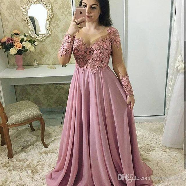 061af7042a 2018 Blush Pink Long Sleeve Prom Dresses Sheer Jewel Neck With 3D Flora  Appliques Chiffon Floor Length A Line Formal Evening Occasion Dress Uk Prom  Dress ...