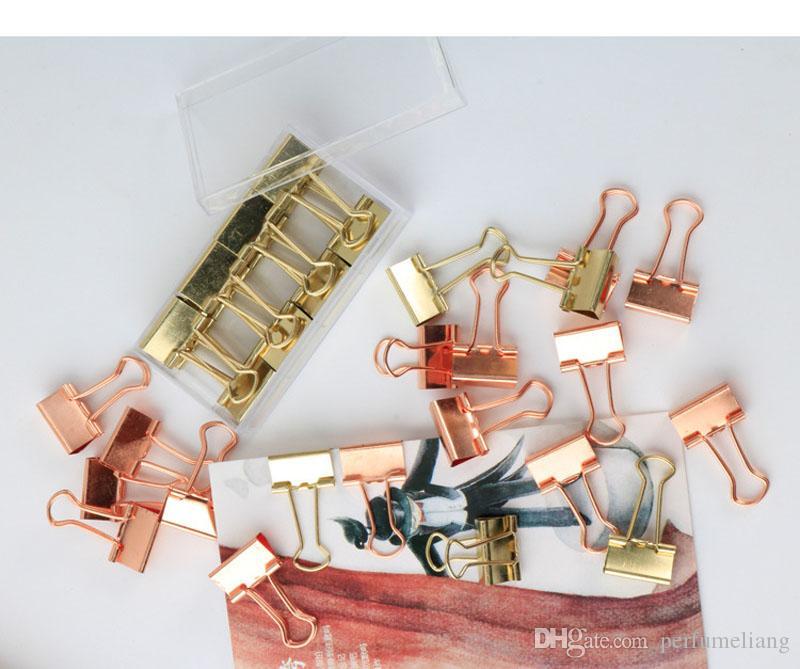 19 ملليمتر الصلبة اللون روز الذهب المعادن بيندر كليب الملاحظات رسالة ورقة كليب الرئيسية مكتب لوازم التخزين ZA6807