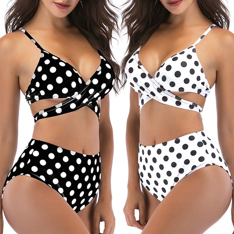 f5b721d74ff5 Compre Mulheres Sexy Bikini Set Retro Adorável V Neck Branco Preto Polka  Dot Babados Biquini Maiô Corte De Cintura Alta Swimsuit Swimwear De  Luzhenbao521, ...