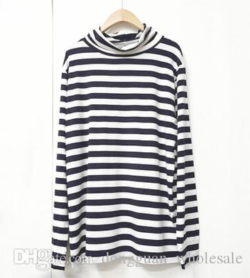 e3f73463503 2018 Kpop Long Sleeve Turtleneck T Shirt Unisex Blue White Striped Tee T  Shirts With Prints Humorous Shirts From Dongguan wholesale